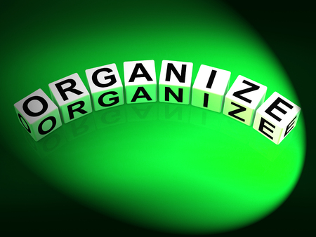 is established: Organize Dice Representing Organization Management and Established Structure Stock Photo