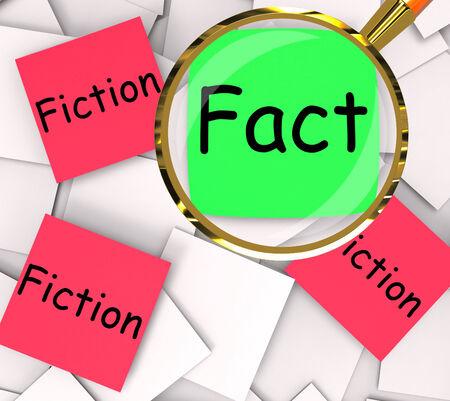 untrue: Fact Fiction Post-It Papers Showing Factual Or Untrue Stock Photo