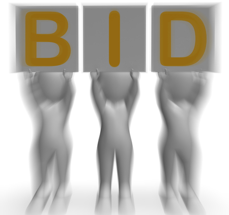auctioning: Bid Placards Showing Auction Bidder Seller And Auctioning Stock Photo