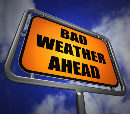 Bad Weather Ahead Signpost Showing Dangerous Prediction photo