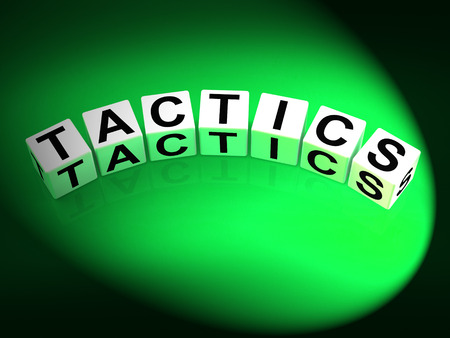Tactics Dice Showing Strategy Approach and Technique Stock Photo - 28844778