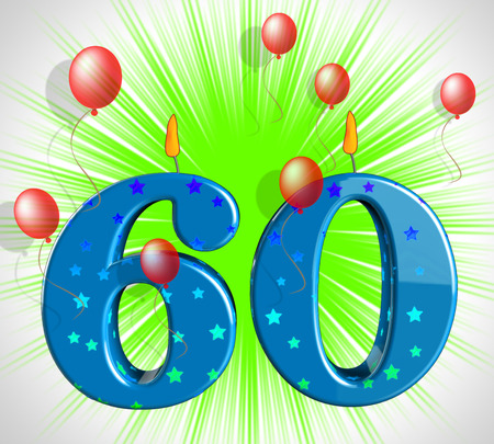 sixty: Number Sixty Party Showing Elderly Birthday Or Birth Anniversary Stock Photo