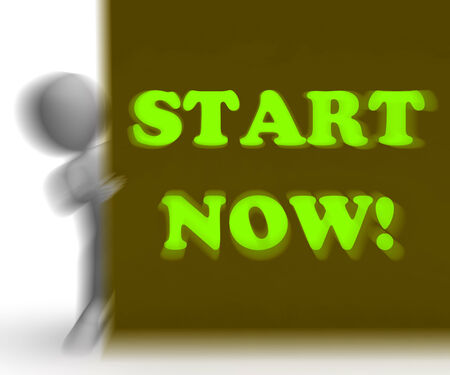 commence: Start Now Placard Meaning Immediate Action Or Beginning Stock Photo