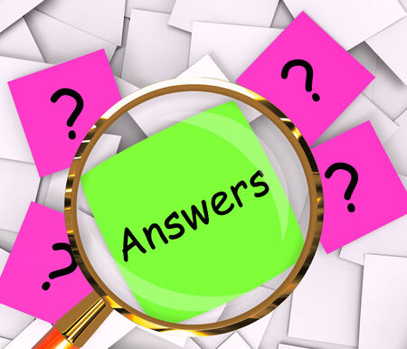 an answer: Questions Answers sticky-note Papers Showing Asking And Finding Out Stock Photo