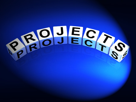 Projects Dice Representing Ideas activities Tasks and Enterprises Stock Photo - 28844882