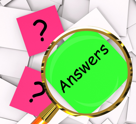 clarify: Questions Answers sticky-note Papers Showing Questioning And Explanations Stock Photo