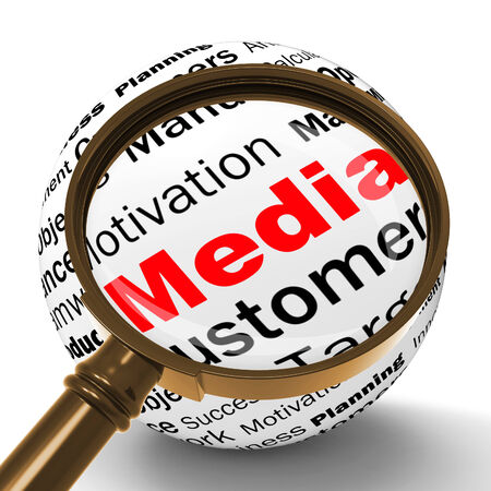 diffusion: Media Magnifier Definition Showing Diffusion Channels Or Online Media Stock Photo