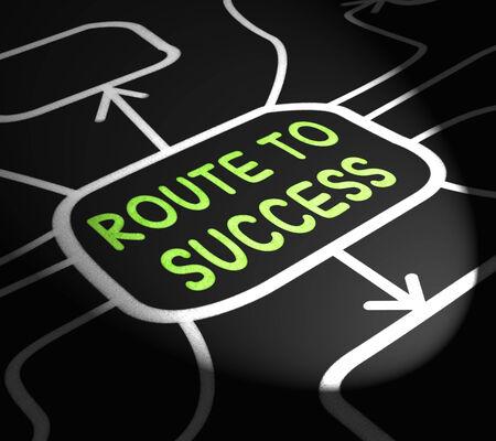 successes: Route To Success Arrows Showing Path For Achievement