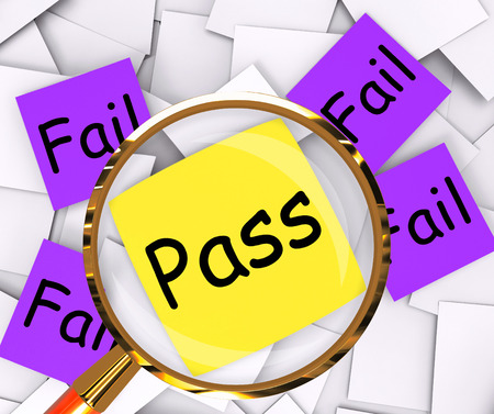 unsatisfactory: Pass Fail sticky-note Papers Showing Acceptable Or Unsatisfactory