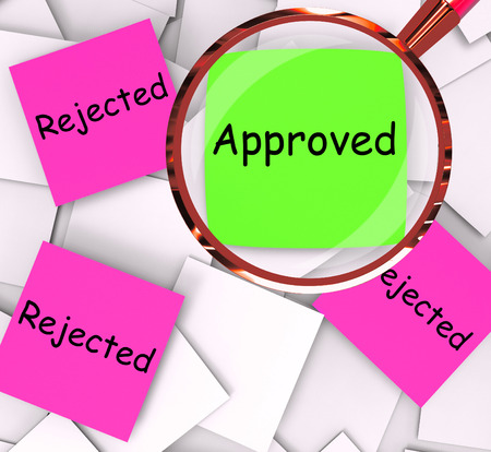 unsatisfactory: Approved Rejected sticky-note Papers Meaning Approval Or Rejection