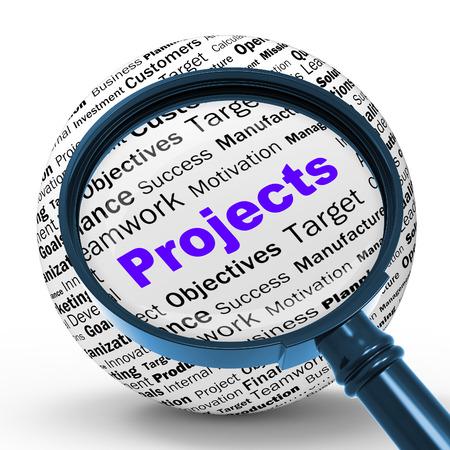 Projets Magnifier Définition Signification activités de programmation ou d'Activité Entreprise Banque d'images - 28849799