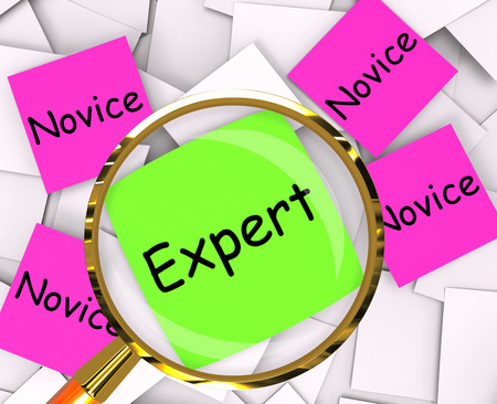 novice: Expert Novice sticky-note Papers Meaning Experienced Or Inexperienced Stock Photo