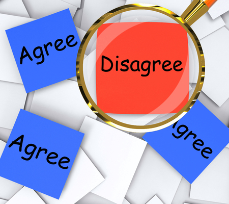 opposed: Agree Disagree sticky-note Papers Meaning Agreeing Or Opposing