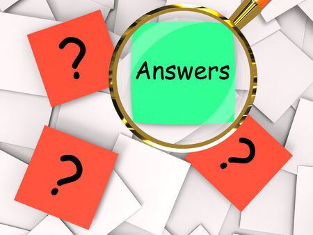 inquiries: Questions Answers Post-It Papers Meaning Inquiries And Solutions Stock Photo