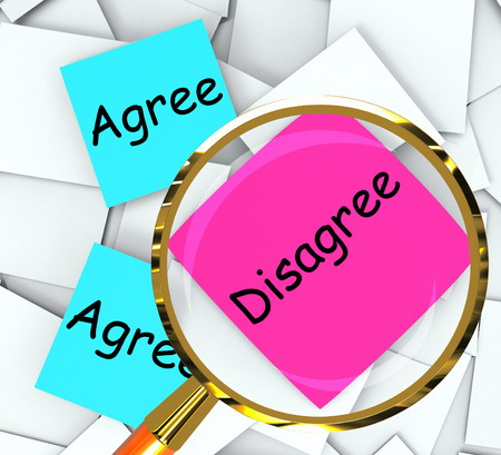 disagreed: Agree Disagree sticky-note Papers Meaning Opinion And Point Of View Stock Photo