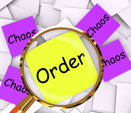 Order Chaos sticky-note Papers Showing Organized Or Confused photo