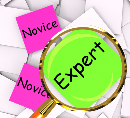 novice: Novice Expert sticky-note Papers Meaning Amateur Or Skilled