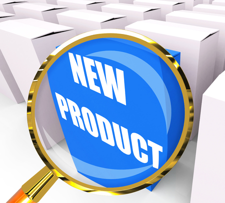 newness: New Product Packet Indicating Newness and Advertisement Stock Photo