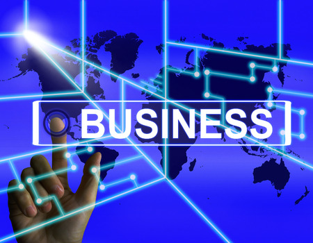 international internet: Business Screen Representing International Commerce or Internet Company Stock Photo