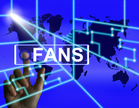 admirers: Fans Screen Showing Worldwide or Internet Followers or Admirers