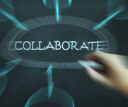 combined effort: Collaborate Diagram Showing Working Together And Synergy