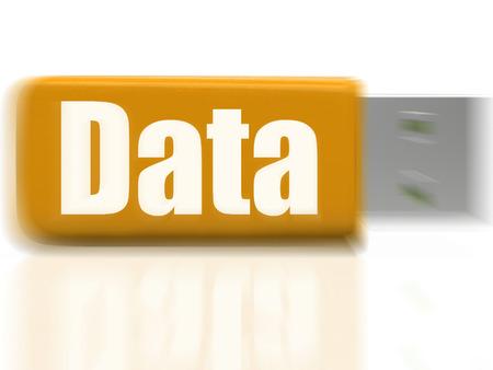 dataflow: Unidad de datos USB Mostrando Digital archivos de almacenamiento y de flujo de datos