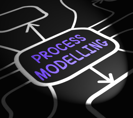 Process Modelling Arrows Showing Illustration Of Business Processes Stock Photo