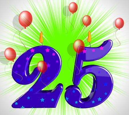twenty five: Number Twenty Five Partido Mostrando Burning velas o llama brillante