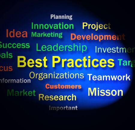 best practices: Best Practices Words Showing Optimum Business Procedures