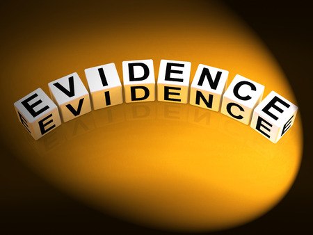Evidence Dice Representing Evidential Substantiation and Proof Stock Photo