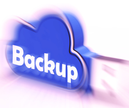 archiving: Backup Cloud USB drive Meaning Data Storage Archiving Or Safe Copy Stock Photo