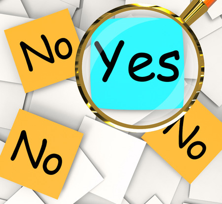 Yes No sticky-note Papers Meaning Positive Or Negative Response Stock Photo