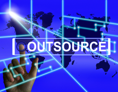 outsource: Outsource Screen Meaning International Subcontracting or Outsourcing Stock Photo