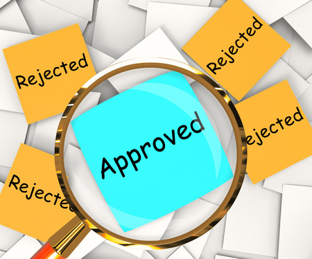 unsatisfactory: Approved Rejected sticky-note Papers Showing Accepted Or Refused