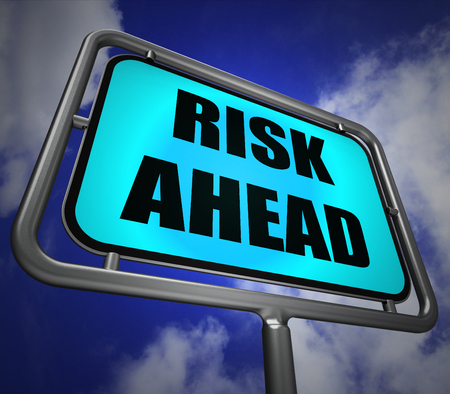 unstable: Risk Ahead Signpost Showing Dangerous Unstable and Insecure Warning Stock Photo