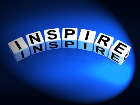 urge: Inspire Dice Showing Inspiration Motivation and Invigoration