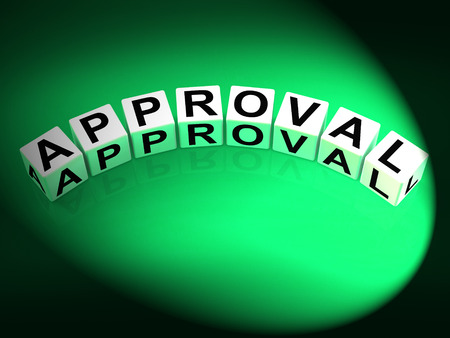 approvement: Approval Dice Showing Validation Acceptance and Approved Stock Photo