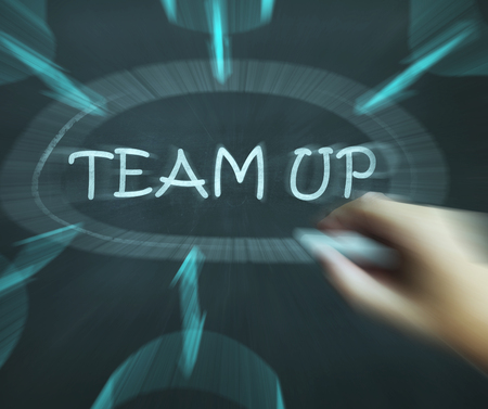 teaming up: Team Up Diagram Meaning Partnership And Joint Forces Stock Photo