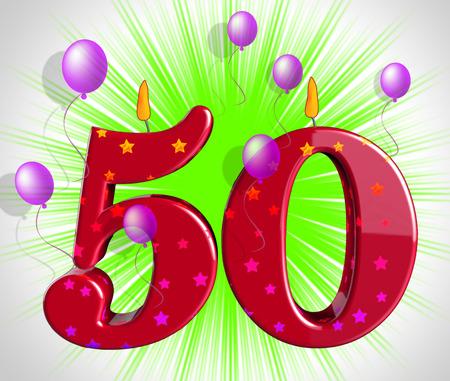 第 50 誕生日の蝋燭または祭典を示す 50 の党を数します。 写真素材