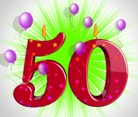 Number Fifty Party Showing Fiftieth Birthday Candles Or Celebration 스톡 콘텐츠