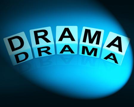 farce: Drama Dice Indicating Dramatic Theater or Emotional Feelings
