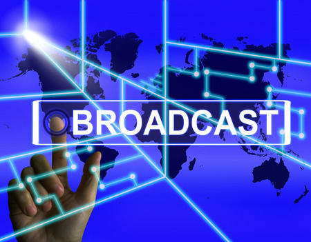 telecast: Broadcast Screen Showing International Broadcasting and Transmission of News Stock Photo
