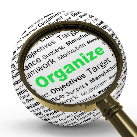 structured: Organize Magnifier Definition Shows Structured Files Organized Or Management Stock Photo