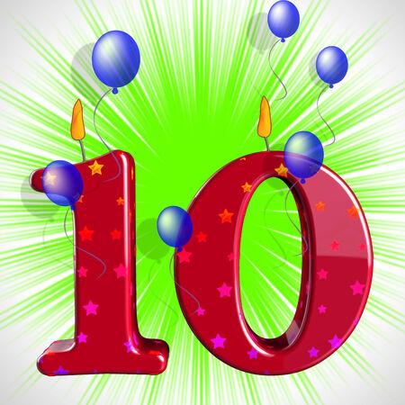 numero diez: Number Ten Partido Significado numeral velas o candelas Celebration Foto de archivo