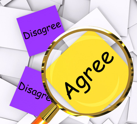 disagreed: Agree Disagree sticky-note Papers Showing In Favor Of Or Against
