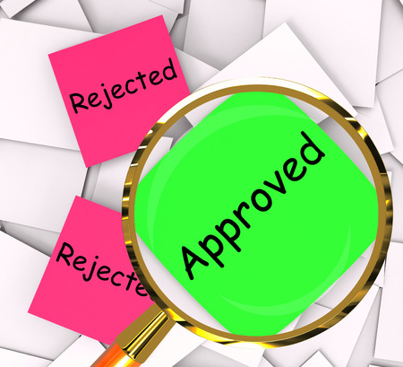 Approved Rejected sticky-note Papers Showing Passed Or Denied Stock Photo - 28851673