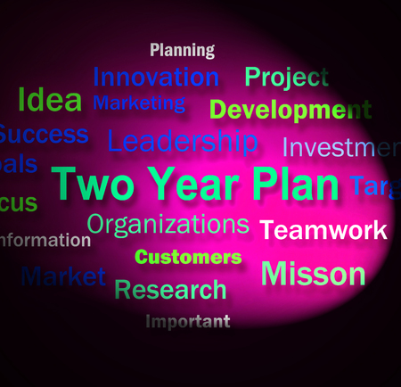 Two Year Plan Words Showing Planning For Next 2 Years Stock Photo - 28851686