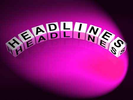 feature: Headlines Dice Meaning Feature Header and Heading Stock Photo