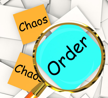 disorderly: Chaos Order Post-It Papers Showing Disorganized Or Ordered Stock Photo