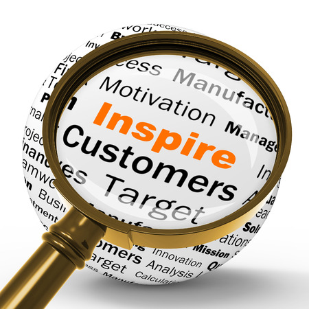 sphere of influence: Inspire Magnifier Definition Meaning Motivation Encouragement And Positivity Stock Photo